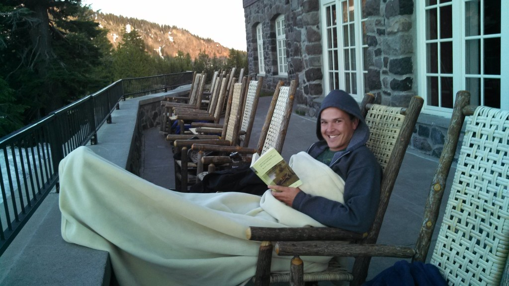 Reading Huck Finn on a cold day at Crater Lake. Now there's a guy who enjoyed travel companions.