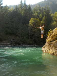 jump into the Skagit River